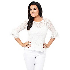 Jessica Wright for Sistaglam - White 'Ola' lace sleeves top