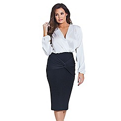 Jessica Wright for Sistaglam - Black 'Myah' ruched front pencil skirt