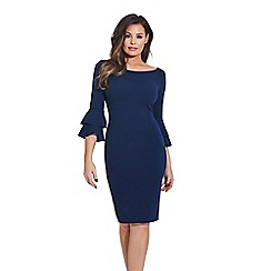 Sistaglam - Navy 'Izzie' flute sleeves bodycon dress