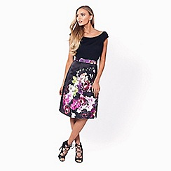 Sistaglam - Floral 'Amia' floral prom dress with black jersey bardot top