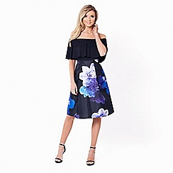 Sistaglam - Navy 'Tillie' satin prom skirt with oversized all over floral print