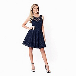 Sistaglam - Navy 'Tish' all over lace prom dress