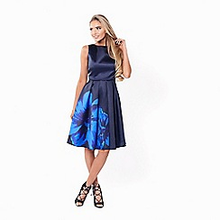 Sistaglam - Navy 'Shay' satin prom dress with oversized floral print