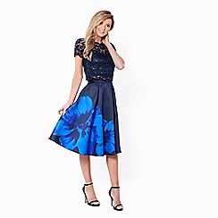 Sistaglam - Navy 'Chrisi' satin prom skirt with large floral print