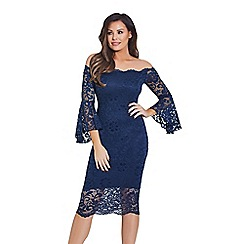 Jessica Wright for Sistaglam - Navy 'Kelsea' lace bardot bodycon dress