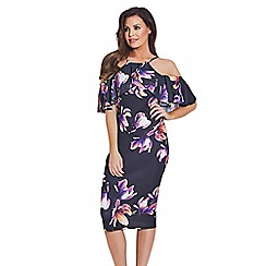 Jessica Wright for Sistaglam - Multicoloured 'Bryony' floral cold shoulder bodycon dress