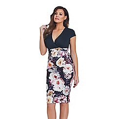Jessica Wright for Sistaglam - Multicoloured 'Joley' floral V-neck bodycon dress