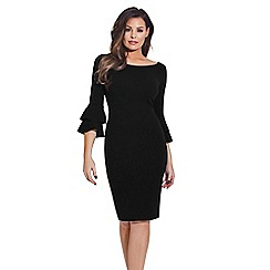 Jessica Wright for Sistaglam - Black 'Izzie' bodycon flute sleeves bodycon dress
