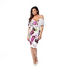 Jessica Wright for Sistaglam - Multicolour 'Avril' floral cold shoulder bodycon dress