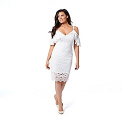 Jessica Wright for Sistaglam - White 'Saydee' lace cold shoulder bodycon dress