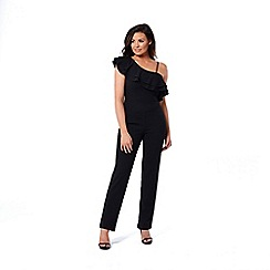 Jessica Wright for Sistaglam - Black 'Sierra' asymmetric ruffle jumpsuit