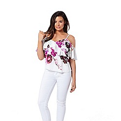 Jessica Wright for Sistaglam - Multicolour 'Marcella' floral bardot frill top