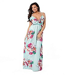 Jessica Wright for Sistaglam - Mint 'Jayde' multi floral frill maxi dress