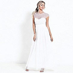 Sistaglam - White 'Kadie' diamante embroidered wedding dress