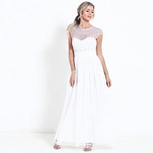 Sistaglam White 'Kadie' diamante embroidered wedding dress
