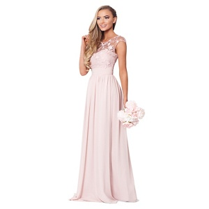Sistaglam Rose pink 'Beverley' lace maxi dress