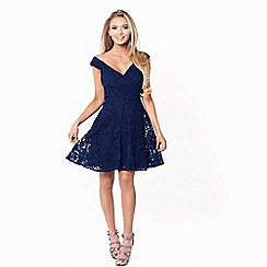 Sistaglam - Navy 'Martina' lace bardot prom dress