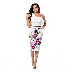 Jessica Wright for Sistaglam - Multicolour 'Beatrix' floral pencil skirt