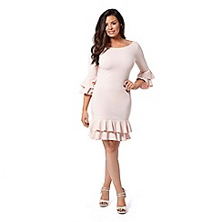 Jessica Wright for Sistaglam - Nude 'Riya' frill hem bodycon midi dress