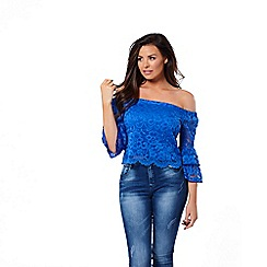 Jessica Wright for Sistaglam - Cobalt 'Gloria' lace bardot frill sleeves top