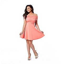 Jessica Wright for Sistaglam - Coral 'Josey' lace bardot skater dress