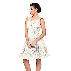 Sistaglam - Cream 'Camilla' embellished sateen bridesmaid dress