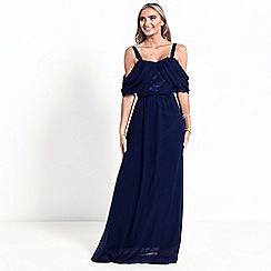 Sistaglam - Navy 'Belinda' cold shoulder maxi dress