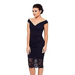 Sistaglam - Black 'Ziana' lace bardot dress