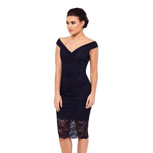 Sistaglam Black 'Ziana' lace bardot dress
