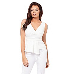 Jessica Wright for Sistaglam - White 'Melissa' peplum top