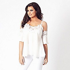 Jessica Wright for Sistaglam - White 'Fifi' cold shoulder top