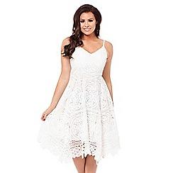 Jessica Wright for Sistaglam - White 'Lilli' crochet spaghetti strap prom dress