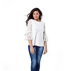 Jessica Wright for Sistaglam - White 'Luella' lace sleeves top