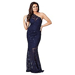 Jessica Wright for Sistaglam - Navy 'Angela' sequin one shoulder maxi dress
