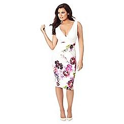 Jessica Wright for Sistaglam - Multicolour 'Lucille' floral v-neck midi bodycon dress