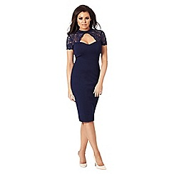 Jessica Wright for Sistaglam - Navy 'Cecily' lace high neck bodycon dress