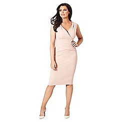 Jessica Wright for Sistaglam - Nude 'Kirsty' V-neck bodycon dress