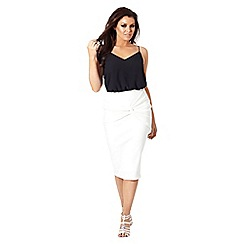 Jessica Wright for Sistaglam - White 'Myah' knot pencil skirt