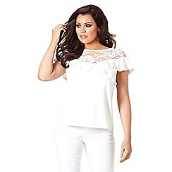 Jessica Wright for Sistaglam - White 'Beth' lace frill top