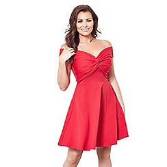 Jessica Wright for Sistaglam - Red 'Thalia' mini bardot skater dress