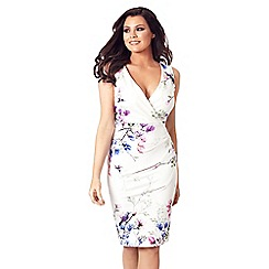 Jessica Wright for Sistaglam - White 'Connie' v-neck floral multi bodycon dress
