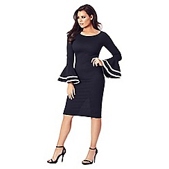 Jessica Wright for Sistaglam - Monochrome 'Yulia' frill sleeve bodycon dress