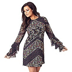 Jessica Wright for Sistaglam - Multicolour 'Layala' floral frill sleeves shift dress