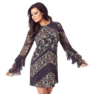 Jessica Wright for Sistaglam Multicolour 'Layala' floral frill sleeves shift dress