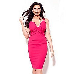 Jessica Wright for Sistaglam - Pink 'Flossie' low V-neck thin strap bodycon dress
