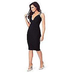 Jessica Wright for Sistaglam - Black 'Flossie' low v-neck bodycon dress