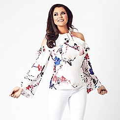 Jessica Wright for Sistaglam - Multicolour 'Sofie' cold shoulder long sleeve floral top