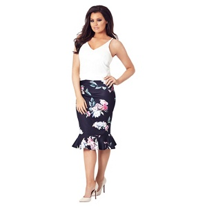 Jessica Wright for Sistaglam Navy 'Anala' multicolour floral skirt