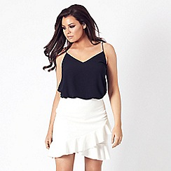 Jessica Wright for Sistaglam - White 'Lauriell' frill mini skirt