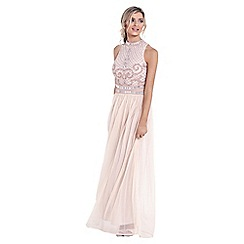 Sistaglam - Nude 'Debbie' embroidered maxi dress
